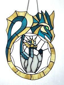 "Dragon Stained Glass Panel Suncatcher 11""x15.5"" Handmade Blue Yellow"