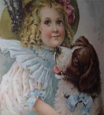 Framed Print Little Girl & St. Bernard Dog Soft Colors Repro Print and Frame