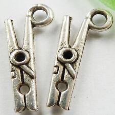 Free Ship 320pcs tibetan silver Clothes Pin Charms 19x8mm