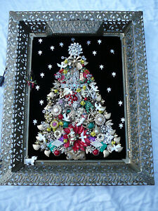 OOAK Vtg Rhinestone Jewelry Xmas Tree Art Framed 21x17 Folk Art Handmade