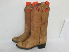 Texas Marble Tan Leather Buckaroo Cowboy Western Boots Womens Size 7 M - L195