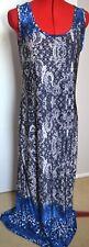 FLOWER Womens Blue & White Lace Look Long Silky Dress Sleeveless Size 10