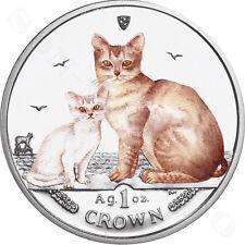 2008 Isle of Man Burmilla Cat Coin with Color 1 oz Silver Proof in Capsule + Coa