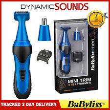 Babyliss 7180U Men's Mini 3-in-1 Facial Nasal Nose Ear Hair Trimmer Clupper BLUE