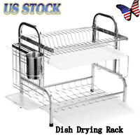 2-Tier Over Sink Dish Drying Rack Kitchen Shelf Cutlery Drainer Stainless Steel