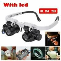 10X 15X 20X 25X Magnifier Magnifying 2 LED Eye Glass Loupe Jeweler Watch Repair