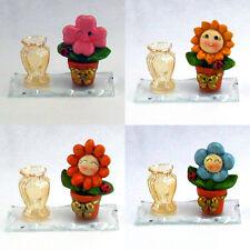 Bomboniere portapenne in vetro con fiore e coccinella battesimo comunione