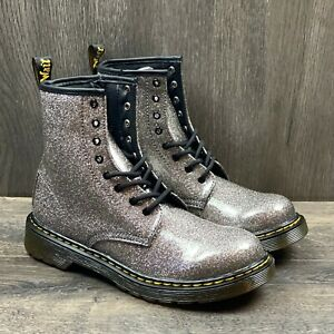Dr. Martens 1460 Y GLITTER BOOTS Youth Size 6Y Gunmetal Gray