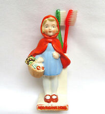 Vintage 1930's Japan Porcelain Figural Toothbrush Holder ~ Red Riding Hood
