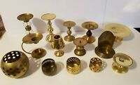 Lot of 14 Vintage Brass Pillar Votive Candle Holders for Wedding, Home Decor Ext