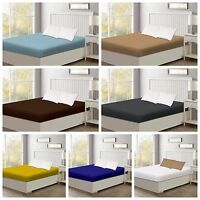 50% Cotton Full Size Fitted Sheet, 400TC Super Soft 16'' Deep Pockets, Full Size