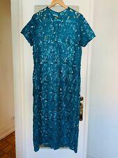SELF PORTRAIT full length cut out sequin diamond green dress UK12 net a porter