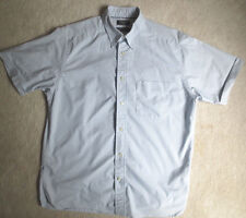 Mens Dockers Short Sleeve Shirt Button Collar M Blue Gray Stripes Cotton Blend