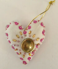 Pretty Handmade Heart Valentine Ornament Repurposed Quilt pink & clear