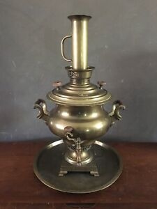 "Antique Imperial Russian Brass Copper Metal Samovar Tea Pot Urn 24"""