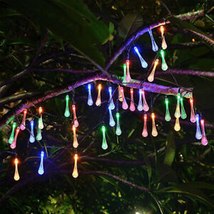 Outdoor String Lights Patio Party Yard Garden 30 LED Solar Powered Water drop