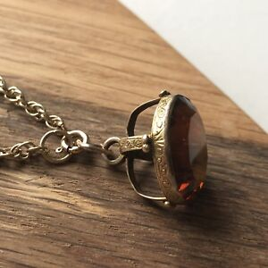 Victorian Citrine Set Gold Fob on Gold Chain Necklace