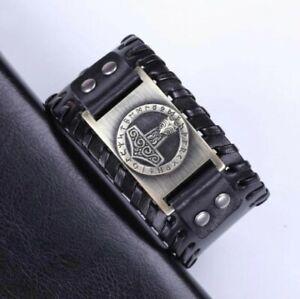 Vintage Men Norse Viking Mjolnir Thor's Hammer Rune Leather Cuff Buckle Bracelet
