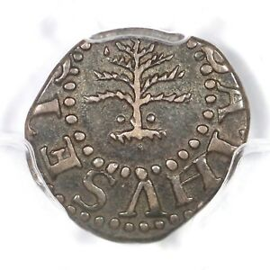 1652 Noe-34 R-4 PCGS AU 55 Pine Tree 3 Pence Silver Colonial Coin