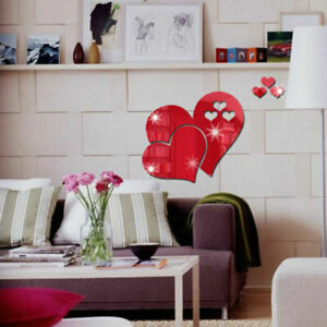 3D Mirror Love Hearts Wall Sticker Decal Home Room Removable DIY Art Mural Decor