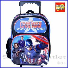 """Captain America Backpack 16"""" Large Rolling Backpack Rollers Luggage"""