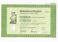 Nebelhornbahn  AG Oberstdorf Inhaber-Aktie über 100 DM von 1975