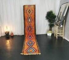 """Moroccan Boujad Handmade Runner Rug 2'3""""x10'9"""" Vintage Geometric Orange Wool Rug"""