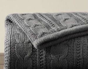 Pottery Barn Cozy Cable Knit Sherpa Throw