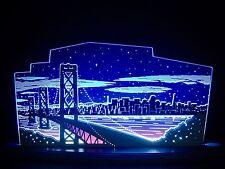 3D LED Arc Lumineux Verre acrylique Arches avec bois San Francisco 47x22 cm