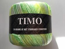"Filatura di Crosa Timo #12 Green Yellow White Ribbon Yarn 50gr 1/2"" wide x 66yds"