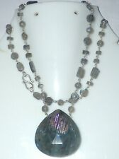 "Natural Labradorite Handmade necklaces 925 Sterling Silver 22"" Chain  necklace"