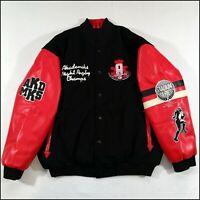 Akademiks Wool/Faux Leather Varsity Jacket | XXL | Black/Red | Rugby | Rare