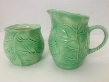 Green Cabbage Creamer and Sugar Bowl Set Kitchenware Collectible Signed Irma