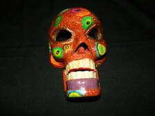 """Wood Hand Painted Skeleton Wall Mask Guatemala 12"""" Rust Multi Color Moveable Jaw"""