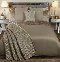 Mink Gold Shimmer Crushed Velvet Single Duvet Cover Sequin Quilt Bedding Bed Set