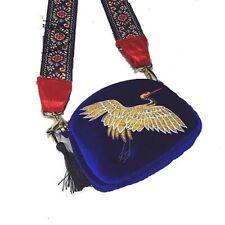 Vintage Mini Bag Velvet Embroidery Crane Shell Fashion Shoulder Tassel Crossbody