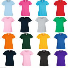 Fruit of the Loom Ladies T shirt Womens plain blank tee lady-fit  16 Colours