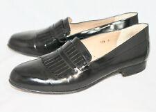 Authentic BALLY Black Leather Fringe Dress Loafer Men's 10.5D Slip On