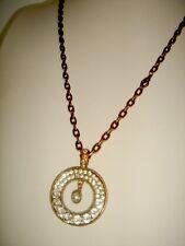 Halsschmuck Halskette Kupferfarben Kette Metall Strass #1365-ü