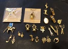 VTG Large of 25 Monet Gold Tone Charms Varied Designs Barely Used Some New