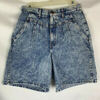 chic women's vintage jean shorts size 9 blue acid washed high waisted mom
