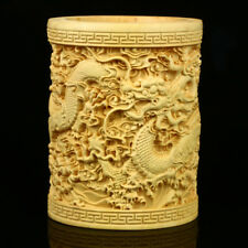 Chinese Exquisite Hand-carved The Dragon  Boxwood Brush Pot