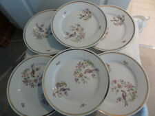 6 x KAHLA PLATES with oriental pattern with BIRDS and FLOWERS - GOLD LINE DETAIL