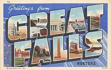 A67/ Great Falls Montana Mt Postcard Linen Large Letter Greeting