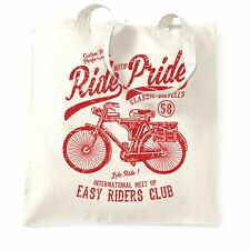 Cycling Tote Bag Ride With Pride Retro Cyclist Bike DIstressed Cool Biker
