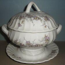 VHTF e1900 PORSGRUND ROUND GRAVY TUREEN fine porcelain PANSY PATTERN- PRISTINE