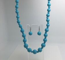 TURQUOISE ACRYLIC NECKLACE EARRINGS SET 18 INCH GRADUATED SUMMER 50'S RETRO