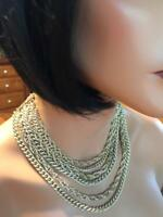 WOW! Vintage Gold Tone Multi 6 Strand Smooth & Textured Chains Necklace