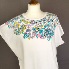 Liberty Of London UT Uniqlo Cotton Top Floral 10 Uk M Medium White Boxy Summer