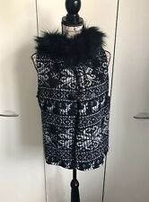 Zara Fur Black Waistcoat Gillet Size L Brand New With Tags BNWT